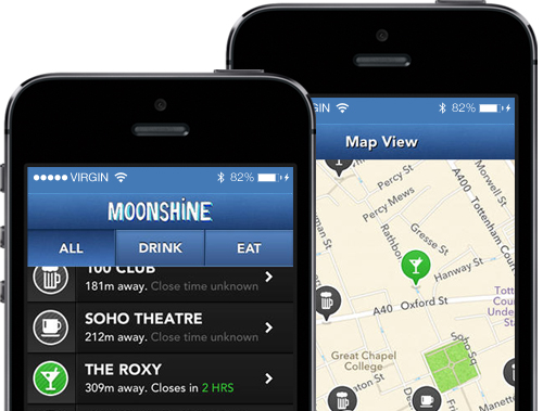Tipsy & Tumbler ios App Mobile development Moonshine!