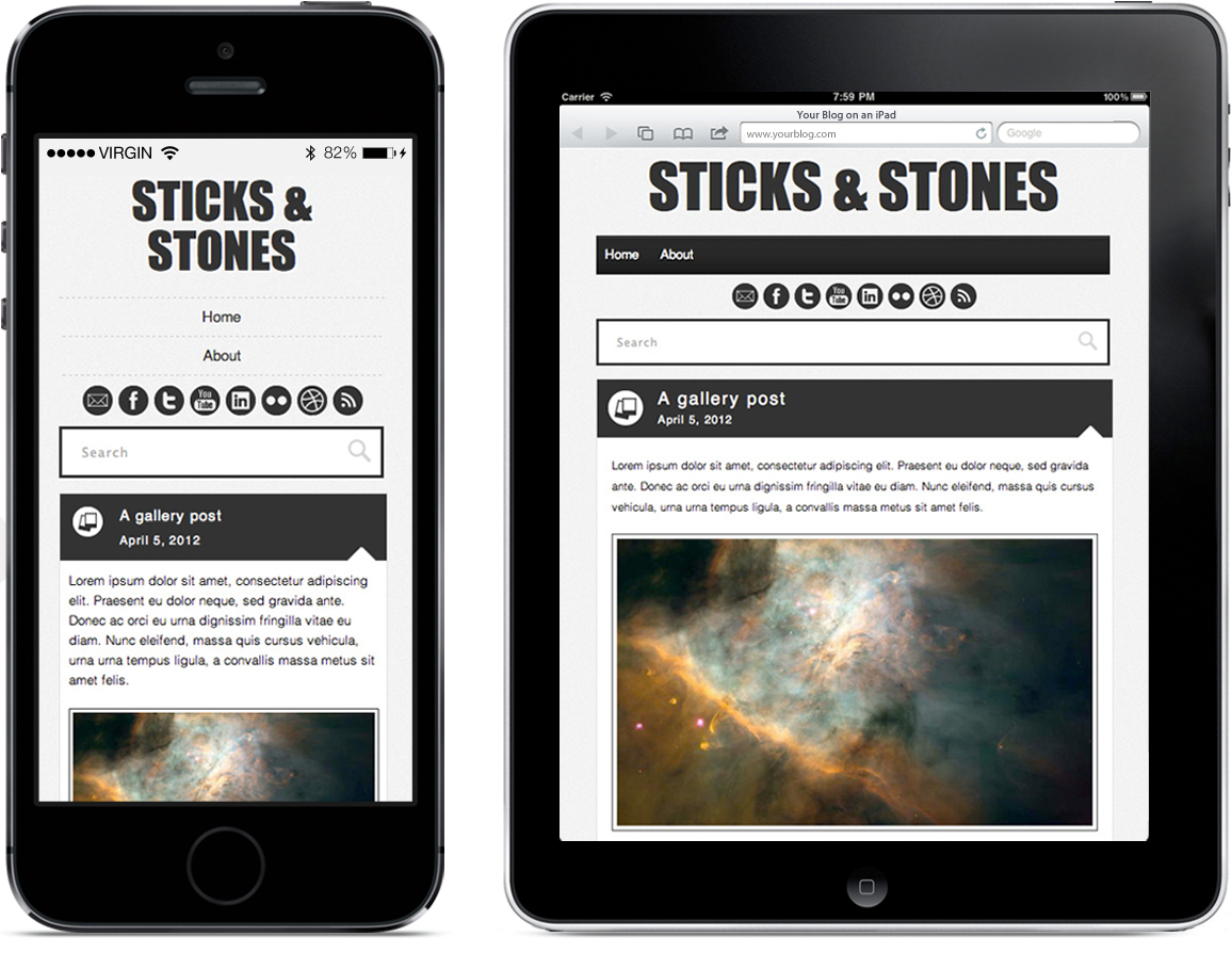 Sticks and Stones - wordpress template preview